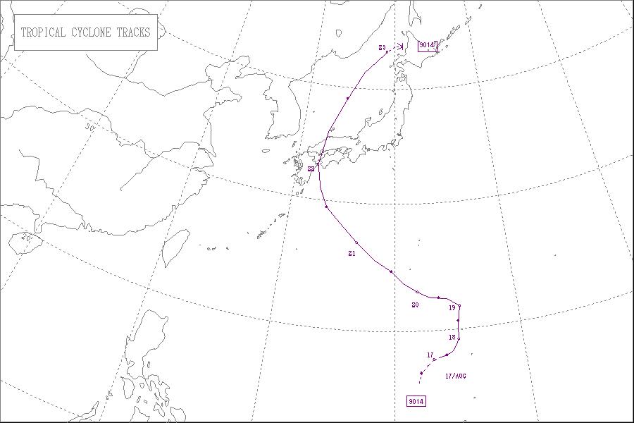 1990年台風14号進路