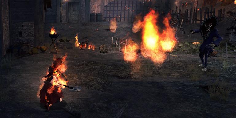 ヴァンパイアの攻撃を受け、炎上状態になるイヴィ