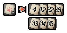 ピンクチケット21枚を7個の好きな数字と交換する