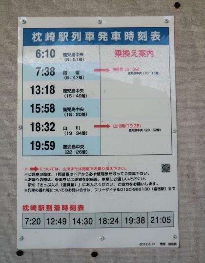 枕崎駅発時刻表