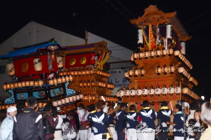 石岡神社祭礼前夜祭 新御堂だんじり(志美登屋台・楽車) 愛媛県西条市氷見