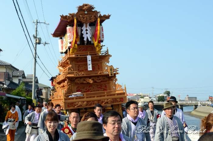 室川堤防 船形屋台(だんじり・楽車) 統一運行 西条祭り2012 伊曽乃神社祭礼 愛媛県西条市