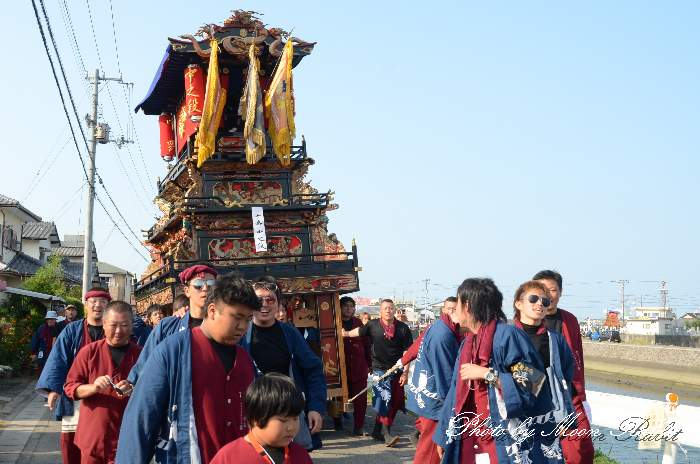 中之段屋台(だんじり・楽車) 室川堤防 統一運行 西条祭り2012 伊曽乃神社祭礼 愛媛県西条市