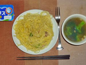 スパゲッティカルボナーラ,ブロッコリーのスープ,ヨーグルト