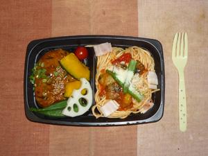 トマトスパゲッティ,豆腐バーグ,温野菜(オクラ,カボチャ,トマト,レンコン)