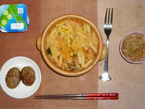 トマトスープスパゲッティ,プチバーグ×2,もやしの味噌炒め,ヨーグルト
