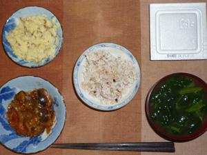 胚芽押麦入り五穀米,納豆,お野菜のトマト煮込み,マッシュポテト,ほうれん草のおみそ汁,