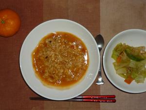 トマトクリームリゾット,野菜炒め,みかん