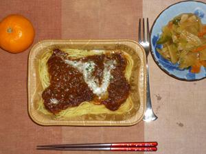 スパゲティミートソース,野菜炒め,みかん