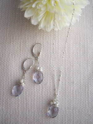 flourite,beads wrap necklace&earrings