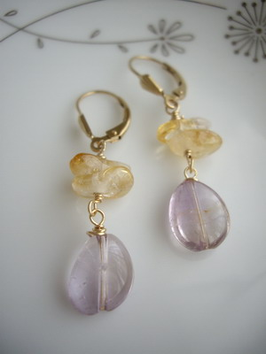 amethyst&citrine earrings