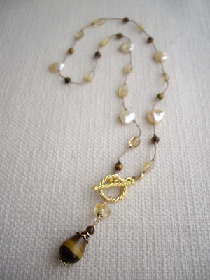 tiger eye,citrine,pearl french knot necklace