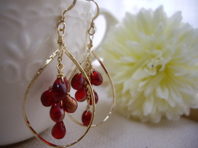 frame earrings pomegranate