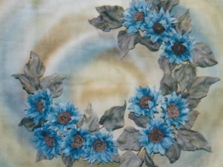 ブログキャンバスの青いひまわり