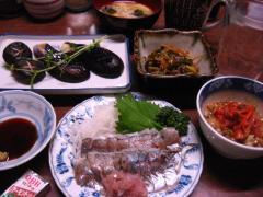 鯵の刺身とキムチ納豆 001