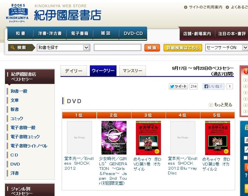 2013-09-23 紀伊国屋書店DVDランキング