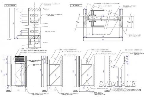 トラベル_柱巻きFR内展開図と建具図