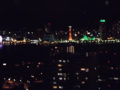 ボケてるけど神戸の夜景。