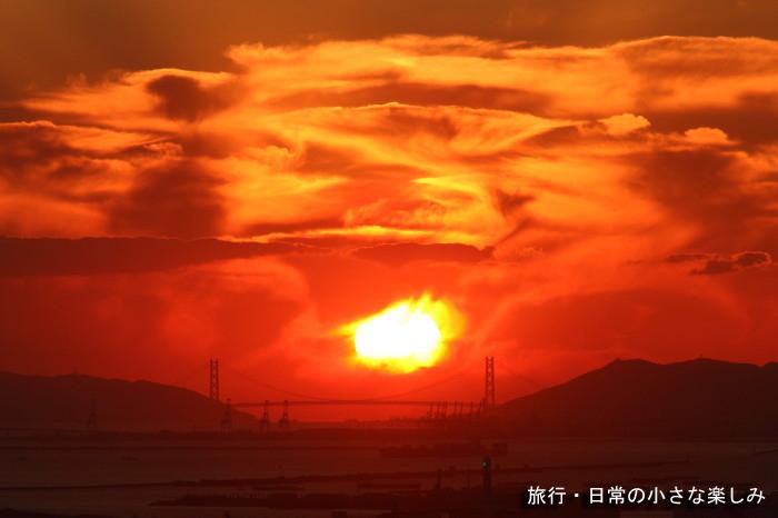 明石海峡 夕日 スカイビル