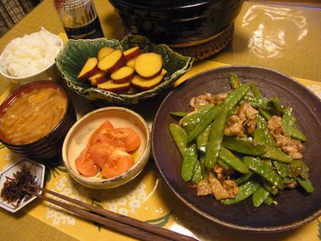3絹さやと豚肉のマヨ醤油炒め定食