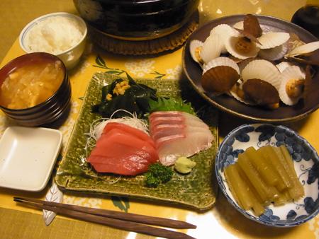 5お刺身・ホタテの稚貝のバター酒蒸し定食