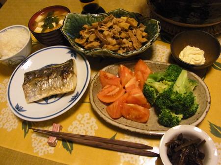 5たけのこと豚肉とぜんまいと竹輪と揚げの煮物・焼鰆定食
