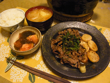 1牛肉と長芋のソテーバターわさび醤油定食