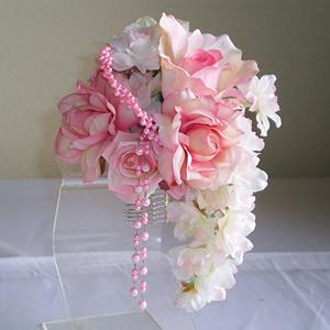 七種類のピンクローズと桜の成人式髪飾り
