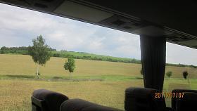 ヴェルツブルグよりローテンブルグへのバス窓