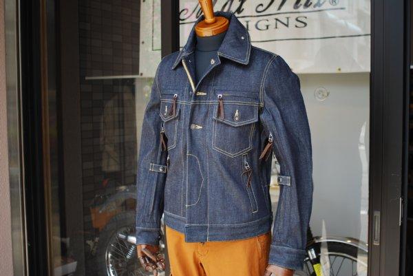 エアインテークデニムジャケット&ワンサイドカーゴパンツ(オレンジ)