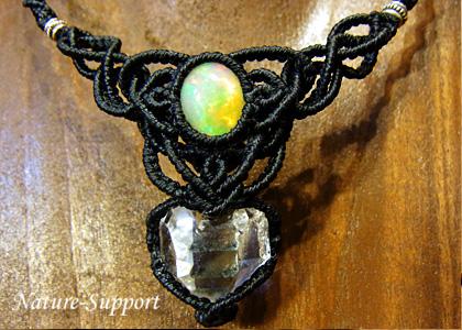 マクラメネックレス ハーキマーダイヤモンド&エチオピアオパール
