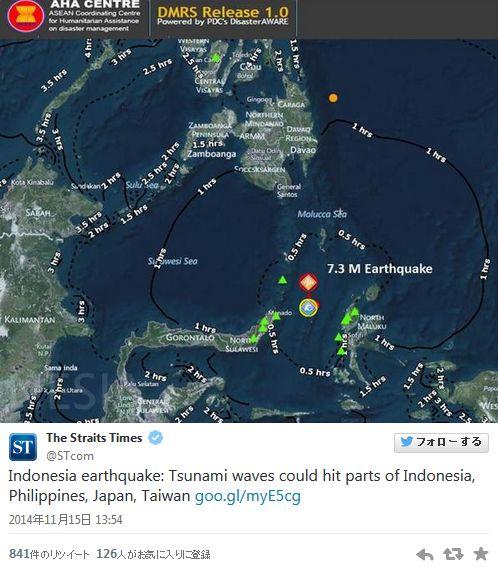 インドネシアでM7.1の地震