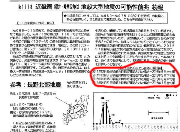 串田氏の地震予知「来年2月に近畿でM7.8巨大地震」→来年5月に延期