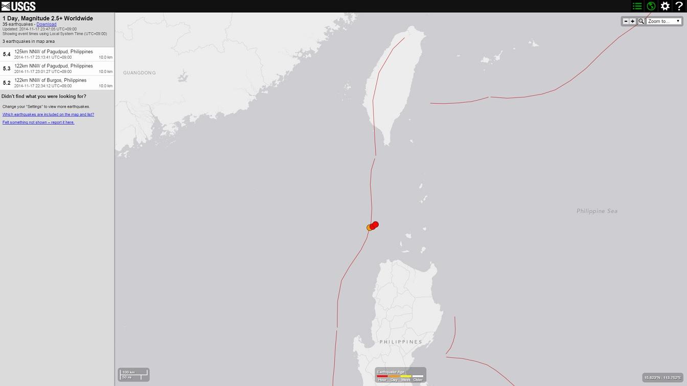 台湾とフィリピンの間でM5クラスの地震が群発中…ニュージーランド沖でもM6.6の地震が発生