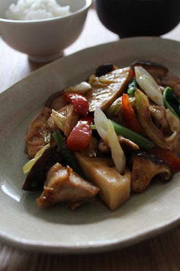 鶏肉と野菜の中華風炒め物1