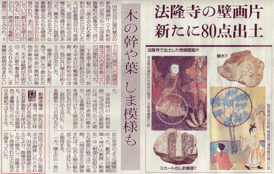 法隆寺壁画片記事